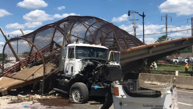 The pedestrian bridge at Polk Street over Route 295 in D.C. collapsed onto several vehicles traveling on the highway on June 24. (Courtesy of DC Fire Dept.)