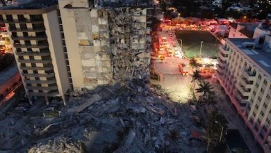 This image shows the aftermath of the Surfside condominium building collapse which occurred on June 24, 2021. It shows the rubble that resulted from the collapse, and also clearly shows the standing portion of the building. (Miami-Dade Fire Rescue via Wikimedia Commons)