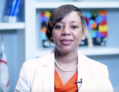 Prince George's County Public Schools CEO Monica Goldson speaks in a June 8 video to update the county's plan for returning to in-person learning for the 2021-22 school year.