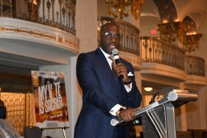 """Jamal Bryant, pastor of the Atlanta-area New Birth Missionary Baptist Church, speaks during the """"My Vote is Sacred"""" rally, held in support of the John Lewis Voting Rights Act, at the Mayflower Hotel in northwest D.C. on June 15. (Roy Lewis/The Washington Informer)"""