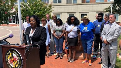 """Prince George's County State's Attorney Aisha Braveboy speaks during a July 27 press conference to update the murder case of Tavahn """"Taya"""" Ashton, a 20-year-old Black transgender woman fatally shot in her Suitland apartment earlier in the month. (William J. Ford/The Washington Informer)"""