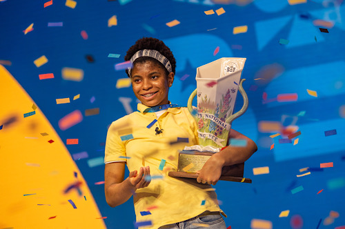 Zaila Avant-garde celebrates after winning the 2021 Scripps National Spelling Bee at the ESPN Wide World of Sports complex at the Walt Disney World Resort in Lake Buena Vista, Florida, on July 8. (Photo by Heather Harvey/Scripps/ESPN Images)