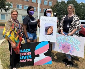 """Black transgender activists from Baltimore traveled to the courthouse in Upper Marlboro on July 27 to support Tavahn """"Taya"""" Ashton. (William J. Ford/The Washington Informer)"""