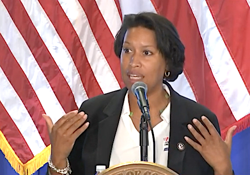 D.C. Mayor Muriel Bowser speaks during a July 29 press conference on the city's response to the coronavirus pandemic.