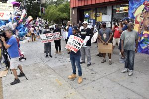 The NAACP's D.C. branch and ANC Commissioner Salim Adofo called 100 Black men for a peace and empowerment rally on July 24 in response to the surge in gun violence and recent mass shootings in southeast D.C. (Robert R. Roberts/The Washington Informer)