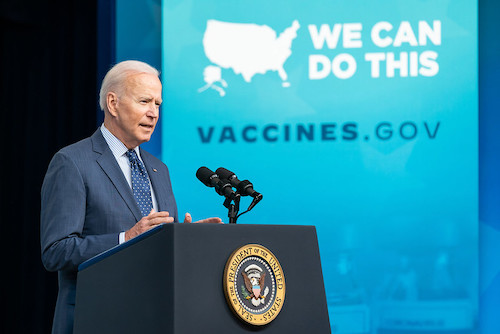 **FILE** President Joe Biden, joined by Vice President Kamala Harris, delivers remarks on the COVID-19 National Month of Action on Wednesday, June 2, 2021, in the South Court Auditorium in the Eisenhower Executive Office Building at the White House. (Official White House Photo by Adam Schultz)