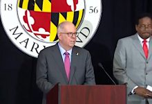 Maryland Gov. Larry Hogan speaks during a July 7 press conference at the University of Maryland's College Park campus to announce a $1 million scholarship giveaway to vaccinated youths in the state.