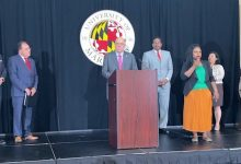 Maryland Gov. Larry Hogan speaks during a July 7 press conference at the University of Maryland's College Park campus to announce a $1 million scholarship giveaway to vaccinated youths in the state. (William J. Ford/The Washington Informer)