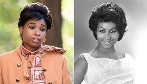 """Jennifer Hudson (left) portrays Aretha Franklin (right) in """"Respect,"""" a new biopic about the legendary singer. (Courtesy photos)"""