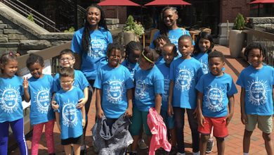 Marje Hines, (back right, then 19), with summer campers in 2019 all part of D.C.'s Marion Barry Summer Youth Employment Program. Last year, she saw her campers on a screen. (Courtesy of Marje Hines)