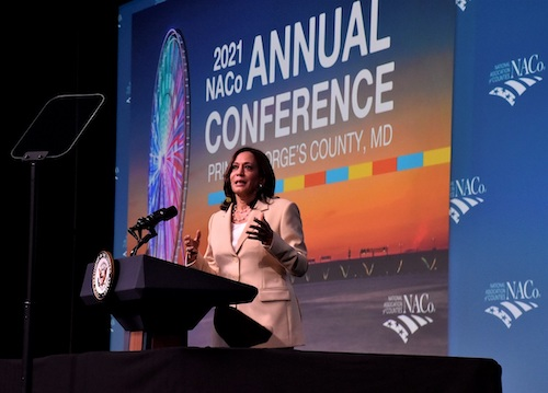 Vice President Kamala Harris addresses the annual National Association of Counties conference at the Gaylord National Resort and Convention Center at Maryland's National Harbor on July 9. (Robert R. Roberts/The Washington Informer)