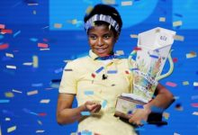 Zaila Avant-garde, 14, holds the trophy after winning the 2021 Scripps National Spelling Bee Finals in Lake Buena Vista, Fla., on July 8. (Courtesy of Scripps)