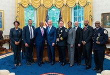 President Joe Biden (fourth from left) met with District of Columbia Mayor Muriel Bowser (left), U.S. city police chiefs, other elected officials and a community intervention expert at the White House on July 12. (Courtesy photo)