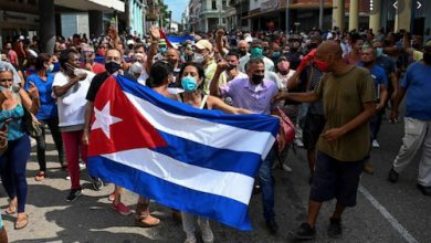Cuban citizens hold an anti-government demonstration protesting food shortages and high prices. (Courtesy photo)