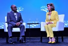 House Speaker Nancy Pelosi (right) participates in an armchair discussion on July 12 with Larry Johnson, who became president of the National Association of Counties later that day. The date marked the last day of the organization's four-day conference at the Gaylord National Resort and Convention Center at National Harbor. (Robert R. Roberts/The Washington Informer)
