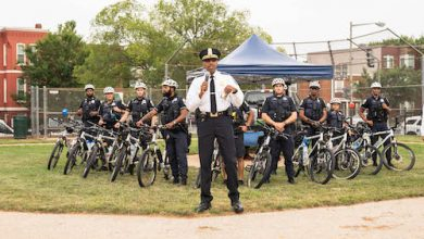 Police Chief Robert J. Contee III greets the crowd at Kennedy Recreation Center at the Metropolitan Police Department's National Night Out held throughout the District of Columbia on Aug. 3. (Abdullah Konte/The Washington Informer)
