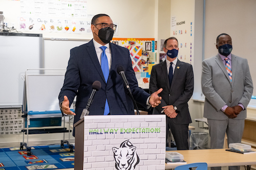 Chancellor Lewis Ferebee hinted at plans to keep adjusting IMPACT during a visit to Stanton Elementary School on Aug. 19. (Ja'Mon Jackson/The Washington Informer)