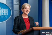 **FILE** Secretary of Energy Jennifer Granholm addresses reporters Thursday April 8, 2021, in the James S. Brady Press Briefing Room of the White House. (Official White House Photo by Cameron Smith)