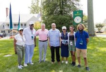 PGA Tour Commissioner Jay Monahan (third from left) meets with members of the Black Press during second-round action at the BMW Championship at Caves Valley Golf Club in Owings Mills, Maryland, on Aug. 28. (WGAESF/Charles Cherney Photography)