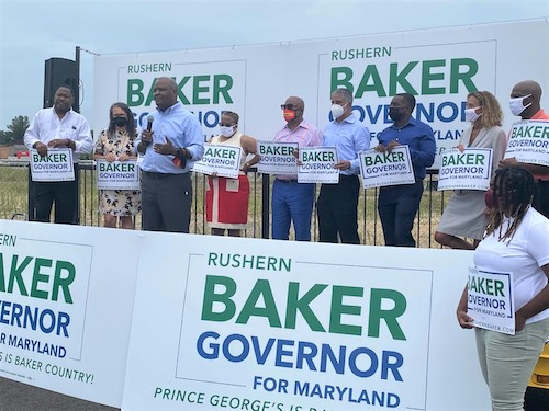 Former Prince George's County Executive Rushern L. Baker III is endorsed by the majority of the current county council in his bid for Maryland governor during an event near the University of Maryland Capital Region Medical Center in Largo on Aug. 31. (William J. Ford/The Washington Informer)