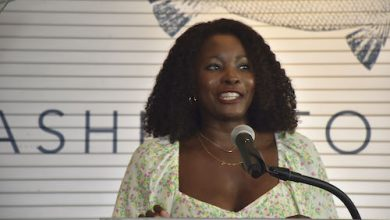 Jummy Olabanji, news anchor from NBC4 Washington, announced the 2021 RAMMYS finalists on July 26 at The Point, a Southwest D.C. Waterfront restaurant. (Robert Roberts/The Washington Informer)