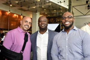 """Celebrating The Park at 14th, a Black-owned restaurant, being named a RAMMYS finalist in the category """"Outstanding Covid-Safe Redesign (Indoors or Outdoors)"""" are (from left) Marc Barnes, owner of The Park at 14th, Shawn Townsend, director of the Mayor Bowser's Office of Nightlife & Culture and Altmann R. Pannell, MPA, director of Government Relations-Mid-Atlantic Region for Coca-Cola Consolidated, Inc. The gentlemen were at the RAMMYS finalists announcement on July 26 at The Point restaurant. (Robert Roberts/ The Washington Informer)"""