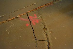Cracks in the floor of Brittany Bennett's unit