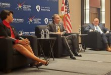 D.C. Mayor Muriel Bowser, Virginia Gov. Ralph Northam and Maryland Gov. Larry Hogan at the 2021 Capital Region Business Forum (James Wright/The Washington Informer)