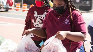 """Community Service Ambassadors have been holding monthly """"Community Pantry Day"""" events where they provide fresh produce, toiletries and bagged lunches. (Courtesy of Thurgood Marshall Academy)"""