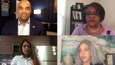 Rep. Colin Allred (top left), Texas Democrat, leads a virtual panel discussion on paid family leave in the United States as part of the Congressional Black Caucus Foundation's 50th Annual Legislative Conference. Joining Allred on the panel are (clockwise from top right) Jocelyn Frye, Kimberly Jeffries Leonard and Nelly Cuenca.