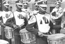 """A photo of the Howard University marching band was first published in 1978 with the caption, """"The Howard University Marching Band Drummers Give The Best To The Marchers."""" (Photo by Afro American Newspapers/Gado/Getty Images)"""