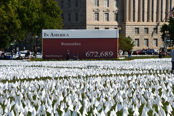 A sea of white flags on the National Mall commemorate Americans who have died of coronavirus-related illnesses. (Anthony Tilghman/The Washington Informer)