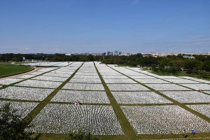 The sheer number of white flags symbolizing individual COVID-19 deaths forced the memorial leaders to change from its original DC Armory location to the National Mall. (Anthony Tilghman/The Washington Informer)