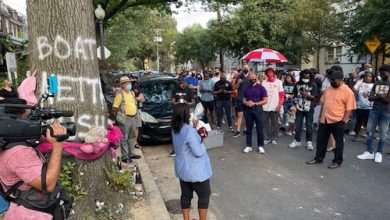 During a peace walk on Sept. 15, D.C. Council member Janeese Lewis George (D-Ward 4) led marchers to Longfellow Street in Northwest, where three young people lost their lives in a hail of bullets during the Labor Day holiday weekend. (Roy Lewis/The Washington Informer)