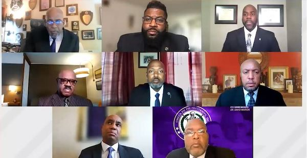 Leaders of Omega Psi Phi Fraternity, Inc. and members of the community discuss the impact of COVID-19 on Black men and boys. (Screen shot: courtesy of Congressional Black Caucus Foundation)