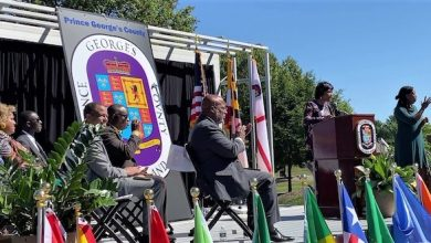 """Prince George's County Executive Angela Alsobrooks (at lectern) announces a proclamation to declare the month of September as """"African Heritage Month"""" in the county on Sept. 24. (William J. Ford/The Washington Informer)"""