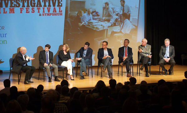 """**FILE** From left: David Simon moderates post-screening discussion of the 2015 Double Exposure Investigative Festival and Symposium's opening night film """"Spotlight"""" with film subjects and investigative reporters Mike Rezendes, Sacha Pfeiffer, screenwriter Josh Singer, director Tom McCarthy, Ben Bradlee Jr., Walter Robinson and Martin Baron. (Courtesy of doubleexposurefestival.com)"""