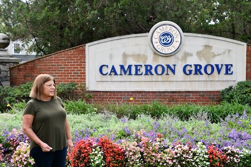 Phillippa Johnston, president of the Cameron Grove Community Association, leads the first against a potential commercial development along Central Avenue near her neighborhood composed of residents 55 and older. (Anthony Tilghman/ The Washington Informer)