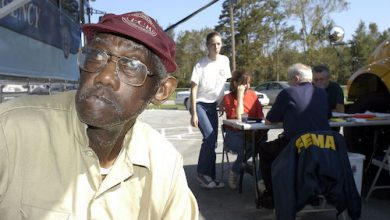 **FILE** A Swan Quarter resident waits at the FEMA disaster relief center after Hurricane Isabel. (Cynthia Hunter/FEMA News)