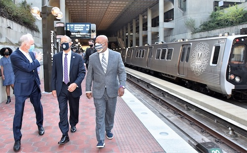 From left: Metro General Manager Paul Wiedefeld, Rep. Anthony Brown and Prince George's County Council Chair Calvin Hawkins II tour the Prince George's Plaza Metro station on Sept. 7. The station was one of four in Prince George's County that reopened that day. (Robert R. Roberts/The Washington Informer)