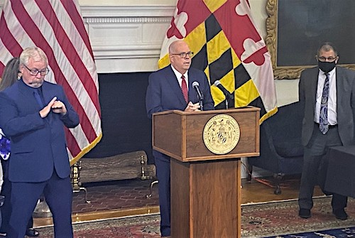 Maryland Gov. Larry Hogan speaks during a Sept. 8 press conference in Annapolis to announce that state residents living in congregate care settings such as nursing homes will be eligible for a COVID-19 vaccine booster shot. (William J. Ford/The Washington Informer)