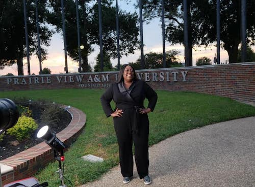 """Loni Love, a graduate of Prairie View A&M University, an HBCU, visits her alma mater in preparation to co-host """"Salute THEM Awards 'My HBCU Joy'"""" airing on Sept. 12, 2021. (Courtesy of Miles Ahead Entertainment and Broadcasting)"""