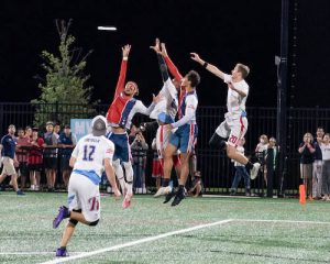 AJ Merriman and Joe Richards jump for frisbee during D.C. Breeze loss to Raleigh Flyers 19 to 16 at Carlini Field, Washington D.C. (Abdullah Konte/The Washington Informer)