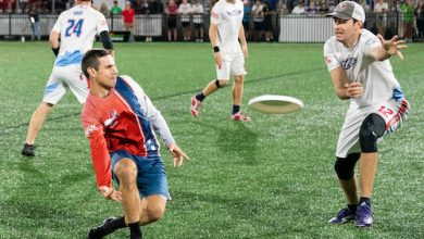 Garrett Braun tosses frisbee during DC Breeze loss to Raleigh Flyers 19 to 16 at Carlini Field, Washington D.C. (Abdullah Konte/The Washington Informer)