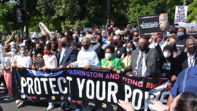 Martin Luther King III, with his wife Andrea and daughter Yolanda march with Rev. Al Sharpton, Rep. U.S. Rep. Shelia Jackson Lee (D-Texas, 18th District), and U.S. Rep. Al Green (D-Texas, 9th District) during the March on Washington for Voting Rights in northwest D.C. on Aug. 28. (Roy Lewis/The Washington Informer)