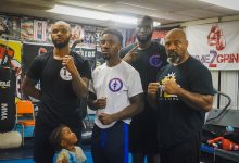 """Coach Mack Allison III (right) with his """"Triple Threat"""" of boxers: Mack Papi Allison IV (left), Tyrell """"Iron Soldier"""" Boyd (second from left) and Malik Titus (Courtesy photo)"""