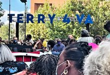 Hundreds of supporters attend a campaign rally for Virginia Democratic gubernatorial candidate Terry McAuliffe at the campus of Virginia Commonwealth University in Richmond on Oct. 23. (Dorothy Rowley/The Washington Informer)