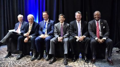 From left: Maryalnd Comptroller Peter Franchot, Robin Ficker, Del. Daniel Cox, Jon Baron, Doug Gansler and Rushern L. Baker III pose for a photo during a Maryland gubernatorial candidate's reception Oct. 13 at the Westin Baltimore Washington Airport Hotel-BWI in Linthicum Heights, Maryland. (Robert R. Roberts/The Washington Informer)
