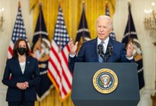 **FILE** President Joe Biden, joined by Vice President Kamala Harris, delivers remarks on the passing of the bipartisan Infrastructure Investment and Jobs Act, Tuesday, August 10, 2021, in the East Room of the White House. (Official White House Photo by Adam Schultz)