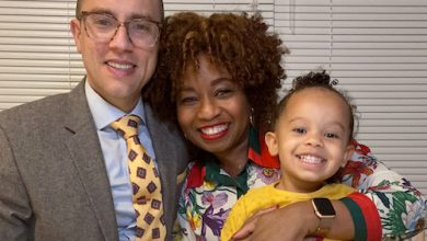 From left: Gabe and Olisi Hindin, with 2-year-old Zoe (Courtesy photo)